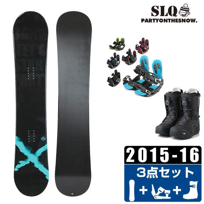 エスエルキュー SLQ スノーボード 3点セット メンズ RESPECT ROCKER + AXEL 2 + SUPERB
