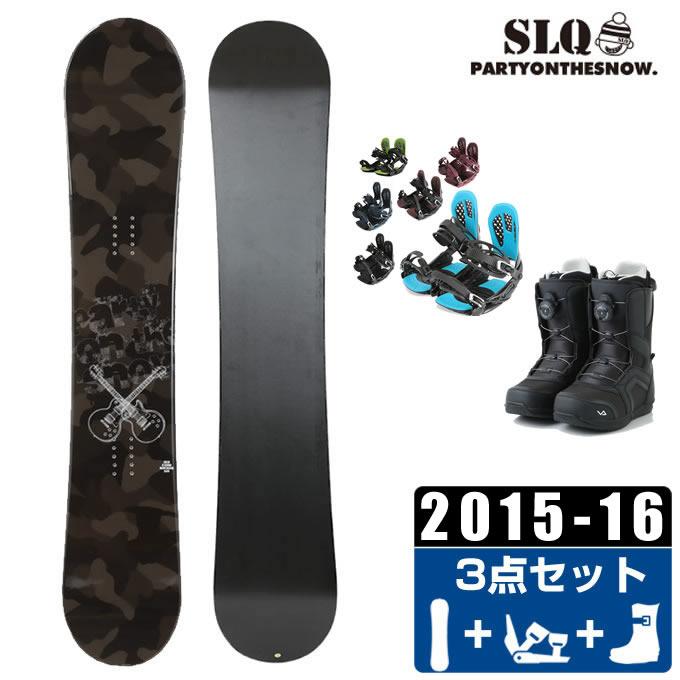 エスエルキュー SLQ スノーボード 3点セット メンズ CAMO ROCKER + AXEL 2 + SUPERB