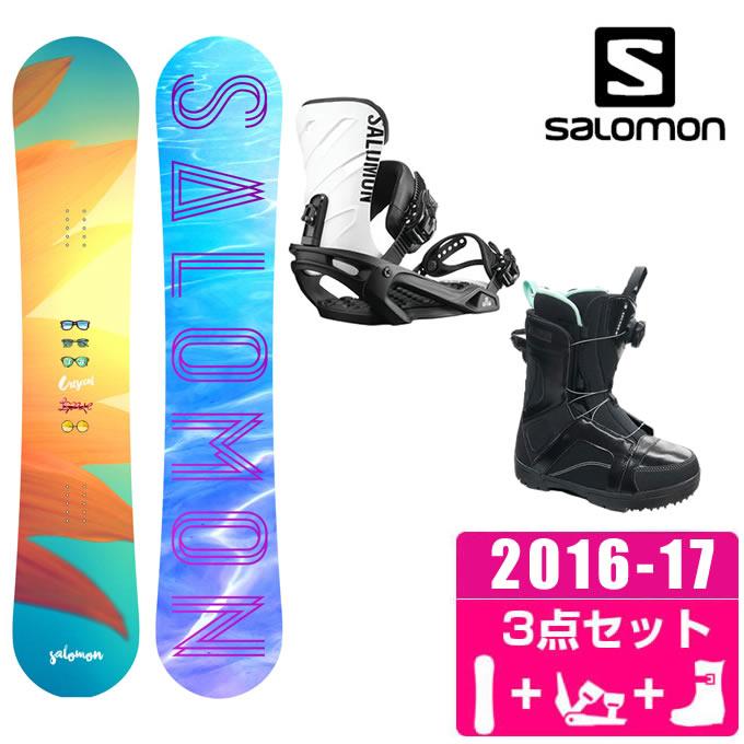 サロモン スノーボード 3点セット レディース CRESCENT + RHYTHM + ANCHOR BOA ボード+ビンディング+ブーツ salomon