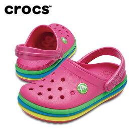 【お買い物マラソン限定 8%OFFクーポン発行中】 クロックス crocs サンダル ジュニア crocband rainbow band clog kids クロックバンド レインボー バンド クロッグ キッズ 205205 sc