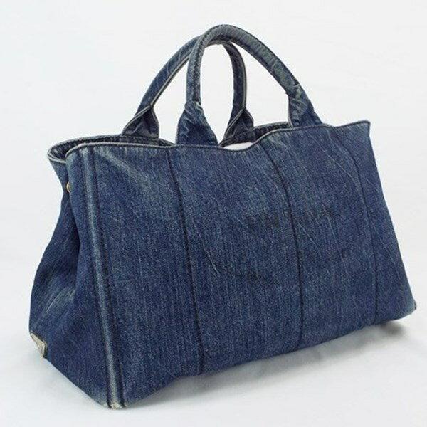 プラダ カナパ デニム 2WAY ハンドバッグ ショルダーバッグ 斜め掛け ブルー系 中古 BCランク PRADA レディース 保存袋付