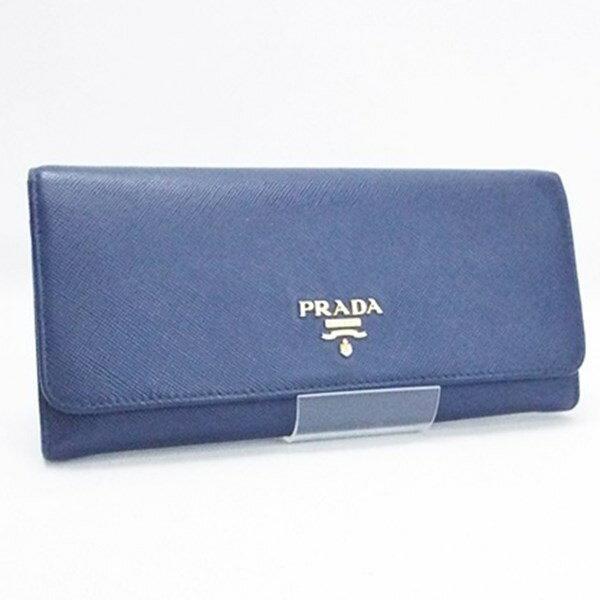 プラダ サフィアーノ 二つ折り長財布 パスケース付き レザー ネイビー 1M1132 中古 Bランク PRADA メンズ レディース 男女兼用 箱付き