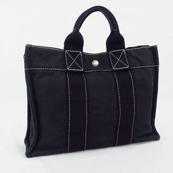 エルメス フールトゥPM ハンドバッグ キャンバス地 ブラック系 中古 Bランク HERMES レデース メンズ 男女兼用