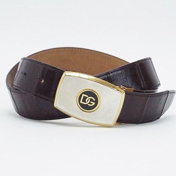 ドルチェ&ガッバーナ レザーベルト ダークブラウン 95サイズ ゴールド金具 中古 ABランク D&G DOLCE&GABBANA 全長113センチ 5段階調整 ウエスト実寸91〜101センチ メンズ