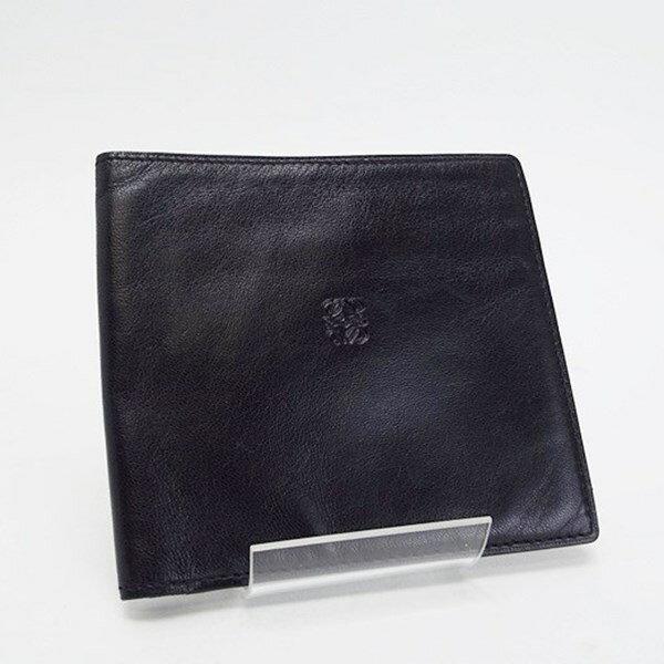 ロエベ 2つ折り財布 札入れ 中古 ABランク ブラック LOEWE メンズ 小銭入れなし【メール便送料無料】