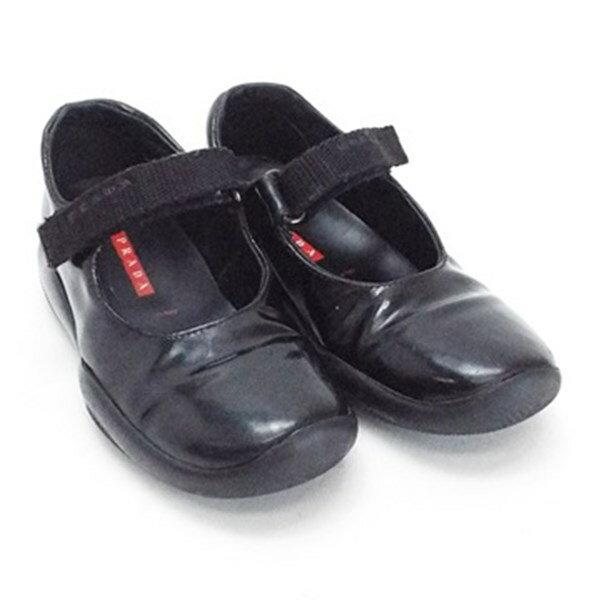 プラダ 子供靴 フォーマル ストラップ付 サイズ25 (約15センチ) ブラック 中古 Bランク PRADA キッズ 箱付き