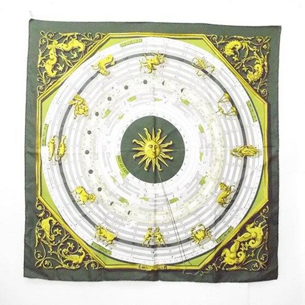 エルメス シルク スカーフ カレ90 DIES ET HORE 占星術 グリーン 中古 Aランク HERMES 【送料無料】