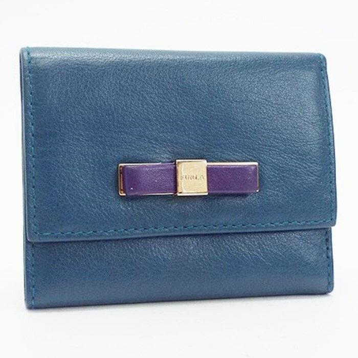 フルラ 三つ折り財布 レザー リボン 深緑 中古 Aランク FURLA レディース 箱・布袋付き