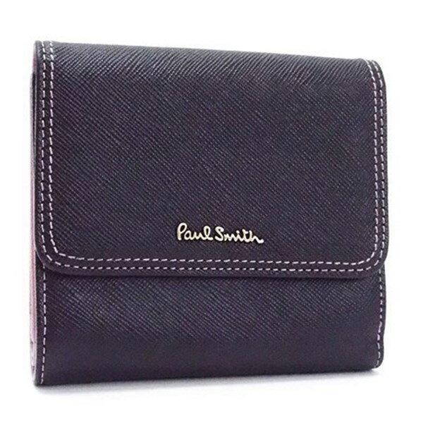ポールスミス Wホック財布 2つ折り財布 ブラック×ピンク 中古 Aランク Paul Smith PWA113 レディース メンズ