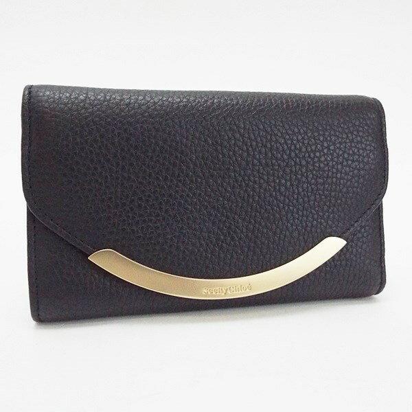 シーバイクロエ 三つ折り財布 レザー ブラック 中古 Sランク SEE BY CHLOE レディース メンズ 布袋付き 未使用・展示品