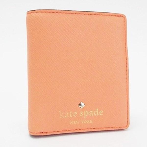 ケイトスペード 二つ折り財布 コンパクト財布 オレンジ 中古 Aランク kate spade レディース【ネコポス送料無料】