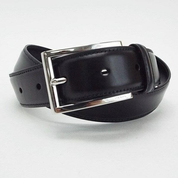 プラダ レザーベルト 全長108センチ 5段切り替え86.5センチ〜96センチ 黒 中古 Sランク 未使用 布袋付 PRADA   メンズ 贈り物 プレゼント お祝い 【送料無料】