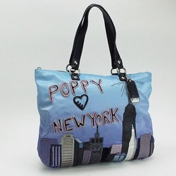 コーチ ディスティネーション ポピー NYC トートバッグ ライトブルー×マルチカラー ナイロン×レザー 15888 中古 ABランク COACH POPPY レディース NEW YORK 布袋付き