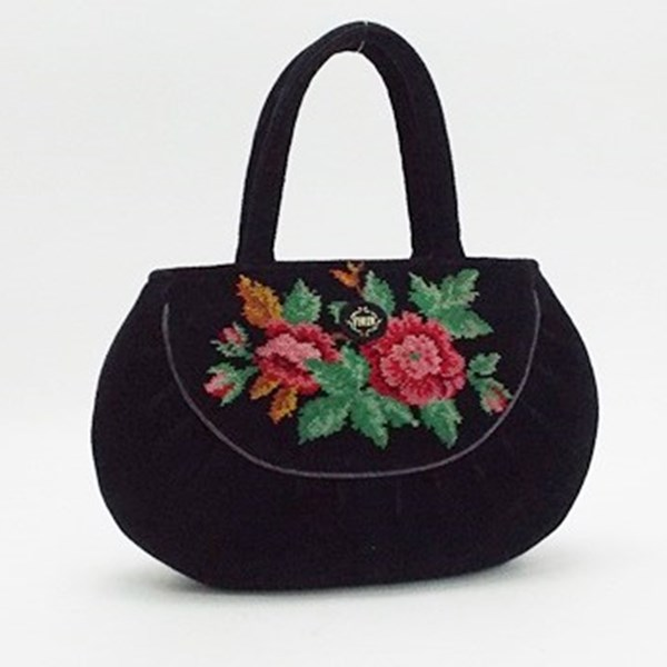フェイラー トートバッグ ハンドバッグ シュニール織り ブラック 花柄 中古 ABランク FEILER |レディース ブランド ハンドバッグ