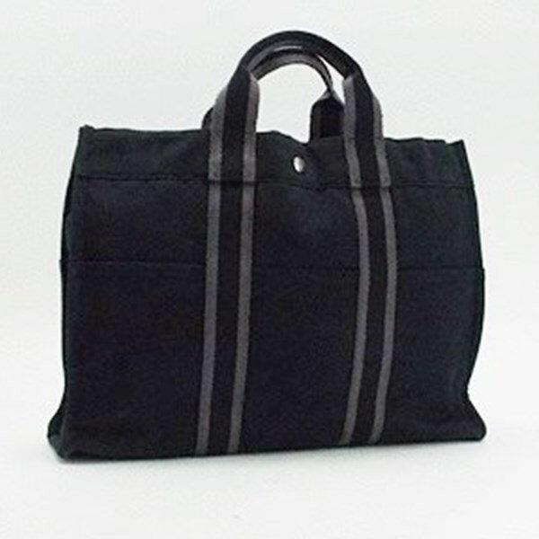 エルメス フールトゥMM トートバッグ キャンバス ブラック×グレー 中古 Bランク HERMES| メンズ レディース 男女兼用 通勤 通学 ブランド バッグ