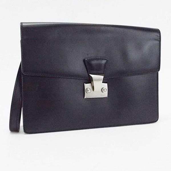 カルティエ パシャライン レザー セカンドバッグ ブラック 中古 Bランク CARTER メンズ ビジネス 箱・保存袋・カード付き