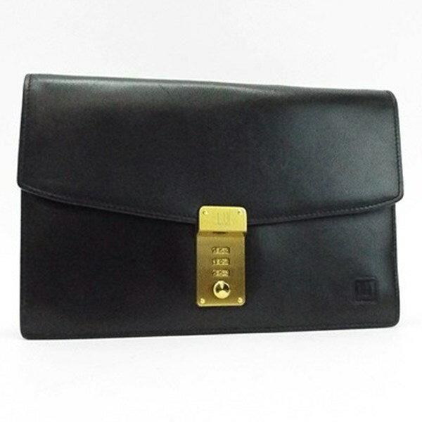 ダンヒル セカンドバッグ クラッチバッグ ダイヤルロック式 ゴールド金具 レザー ブラック 中古 Bランク dunhill メンズ ビジネスバッグ ブランド バッグ