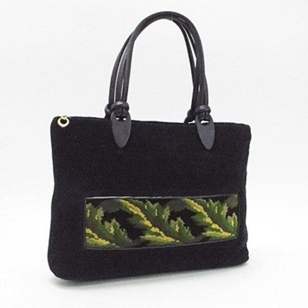 フェイラー トートバッグ シュニール織り ブラック グリーン 中古 Bランク FEILER |レディース ブランド バッグ