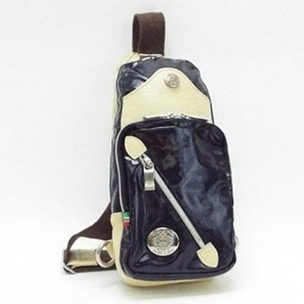 オロビアンコ ナイロン レザー ボディバッグ ネイビー アイボリー 中古 Bランク Orobianco|メンズ ウエストポーチ ウエストバッグ ブランド バッグ