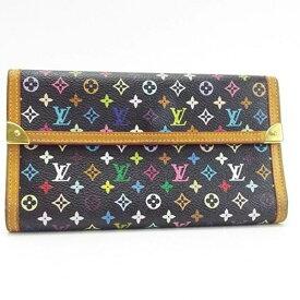 ルイ ヴィトン モノグラム マルチカラー ポルトトレゾール・インターナショナル 3つ折長財布 ノワール(黒) M92658 中古 Bランク LOUIS VUITTON | レディース 箱付き・保存袋