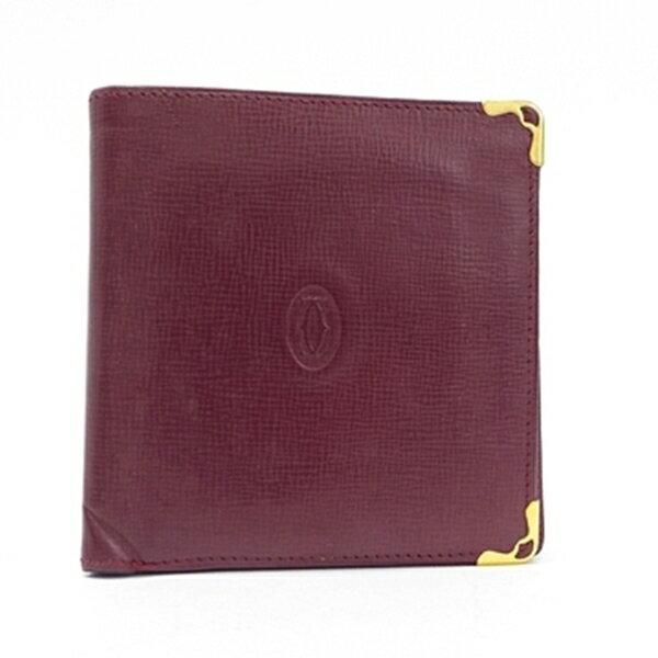 カルティエ マストライン レザー 二つ折り財布 ボルドー 中古 Bランク Cartier | レディース メンズ ブランド ウォレット コンパクト 【ネコポス送料無料】