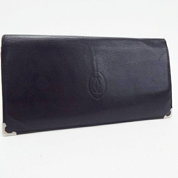 カルティエ カボションライン 二つ折り 長財布 レザー ブラック 中古 Bランク Cartier |メンズ 男性用【ネコポス送料無料】