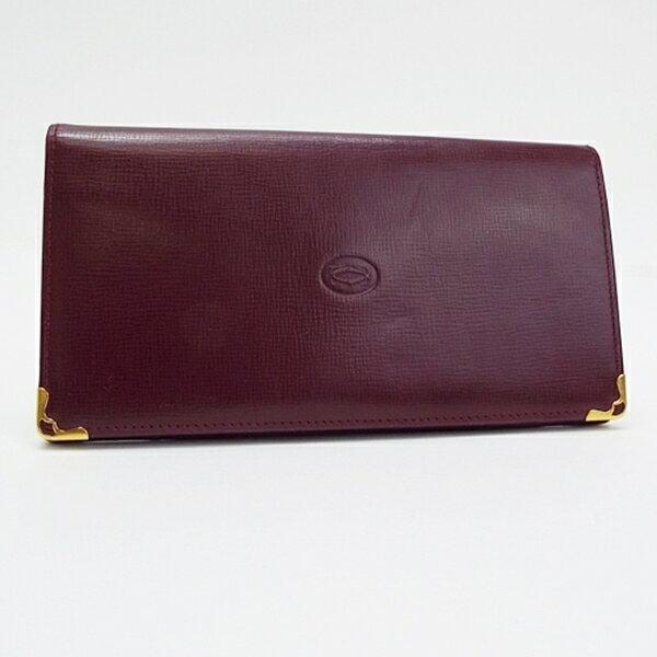 カルティエ マストライン 二つ折り長財布 レザー ボルドー 中古 ABランク Cartier | メンズ レディース ブランド財布【ネコポス送料無料】