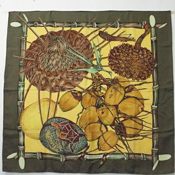 エルメス シルク スカーフ カレ90 Jardin Creole(クレオルの楽園)カーキ 中古 Aランク HERMES 【送料無料】