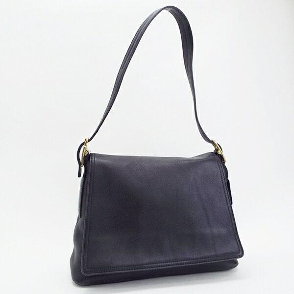 コーチ レザー ワンショルダーバッグ 肩掛け ブラック 9828 中古 ABランク COACH| レディース 女性用 シンプル ハンドバッグ