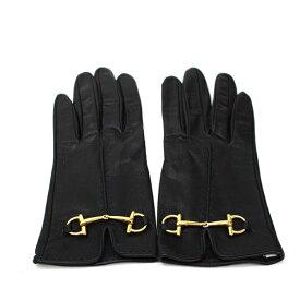グッチ ホースビット 手袋 グローブ レザー ブラック ゴールド金具 中古 Aランク GUCCI | レディース 女性用【送料無料】