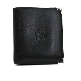 カルティエ 2つ折り財布 カボション シルバー金具 レザー ブラック 中古 ABランク Cartier | メンズ 男性用 ビジネス 小銭入れ付き 二つ折り 箱付き【送料無料】