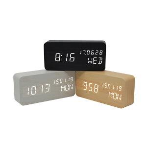 送料無料 目覚まし時計 置き時計 インテリア カレンダー アラーム 振動 センサー USB給電 木製 おしゃれ ウッド アンティーク リビング 卓上 プレゼント