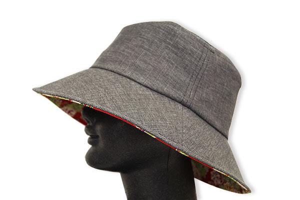 婦人帽子ハット クロッシェ キャップ 竹炭染め-日本製 綿100%