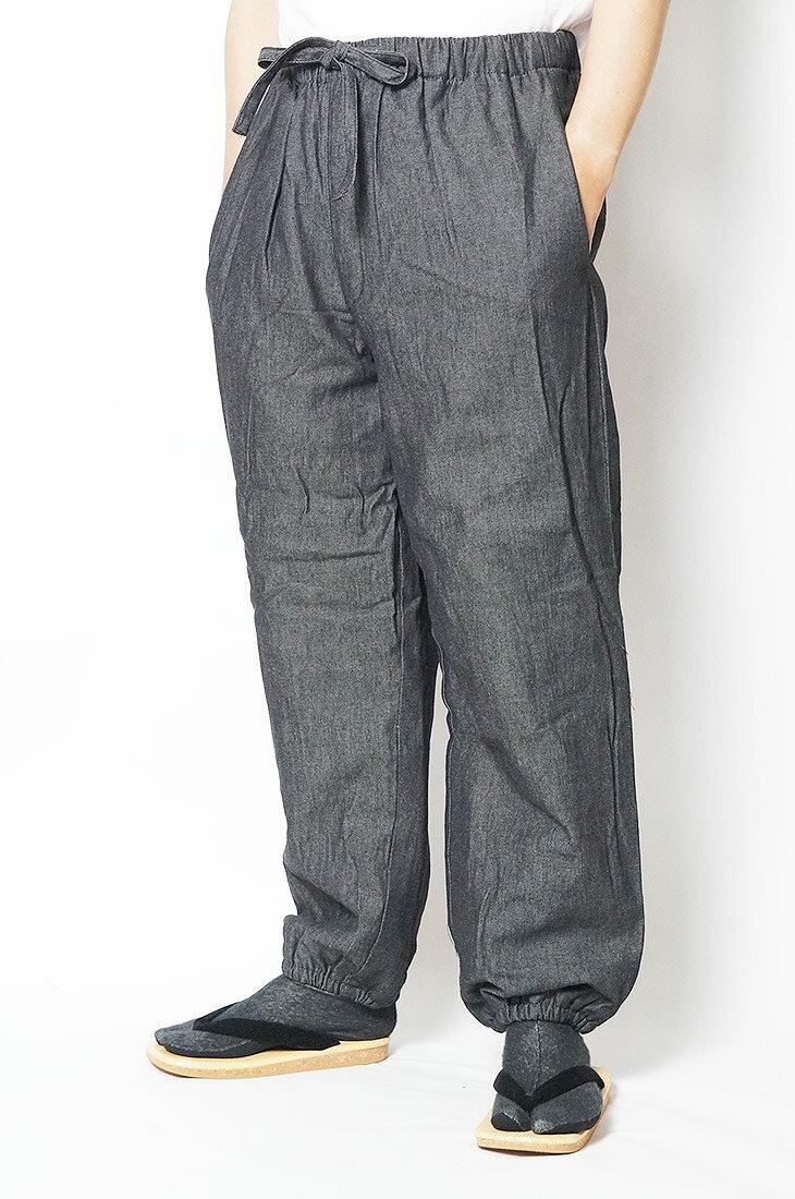 作務衣パンツ 冬用 デニム裏フリース作務衣パンツ-綿100% 黒-M/L/LL/3L/4L/5L 作務衣 メンズ 男性 紳士 ズボン もんぺ 作業着 あったか