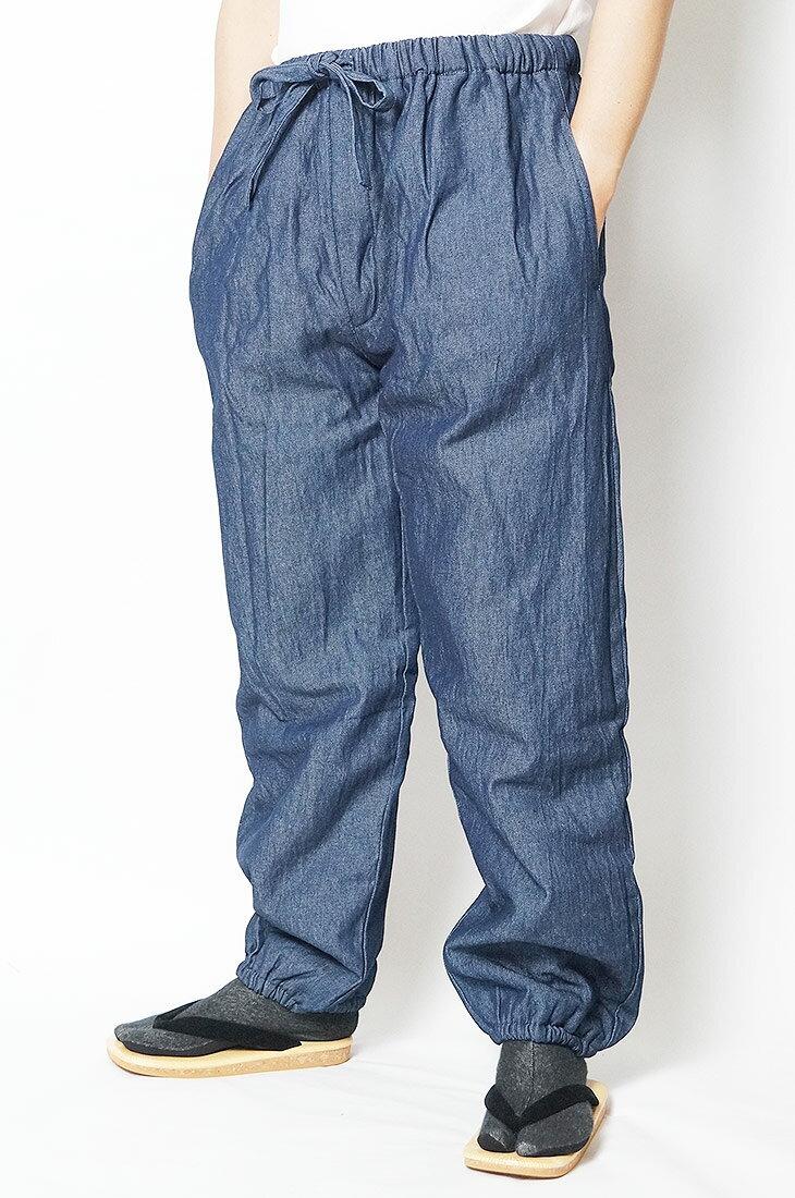 作務衣パンツ 冬用 デニム裏フリース作務衣パンツ-綿100% 紺-M/L/LL/3L/4L/5L 作務衣 メンズ 男性 紳士 ズボン もんぺ 作業着 あったか