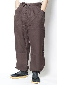作務衣パンツ 涼雅-綿45%麻55% 茶 S/M/L/LL 作務衣 メンズ 男性 紳士 ズボン もんぺ 作業着