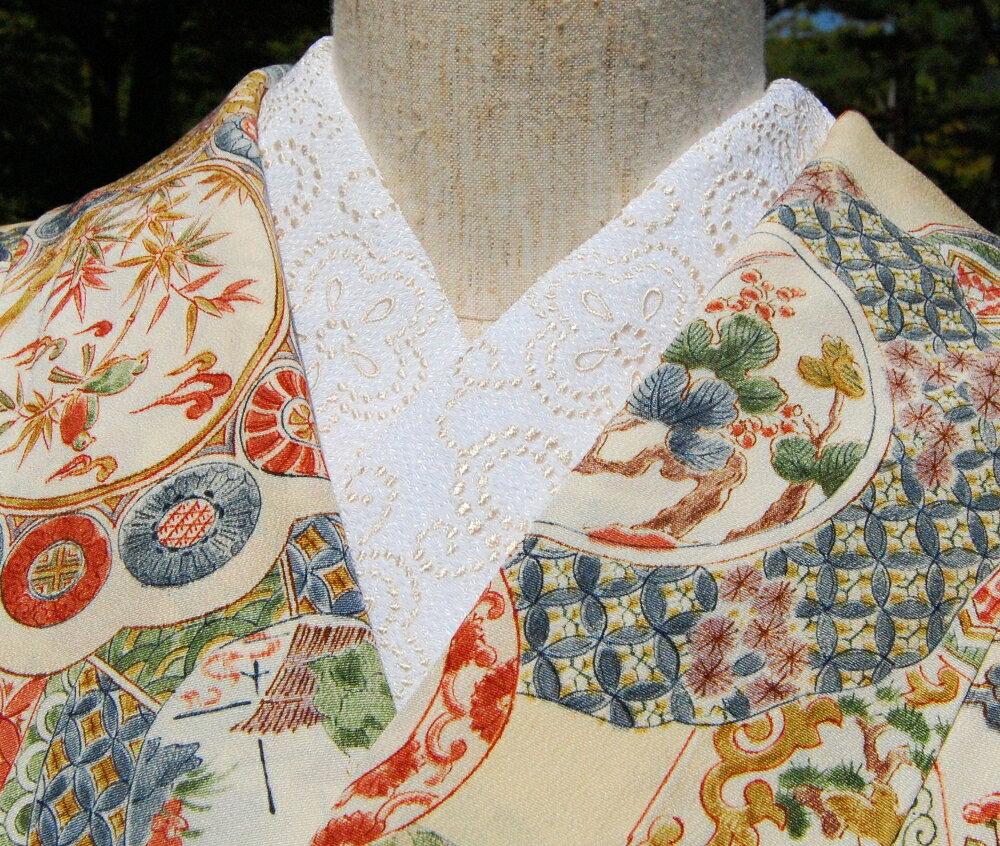 ツブツブエレガント☆刺繍 半衿 ひめ吉オリジナルデザイン☆シンプル必須アイテム☆こだわり半襟
