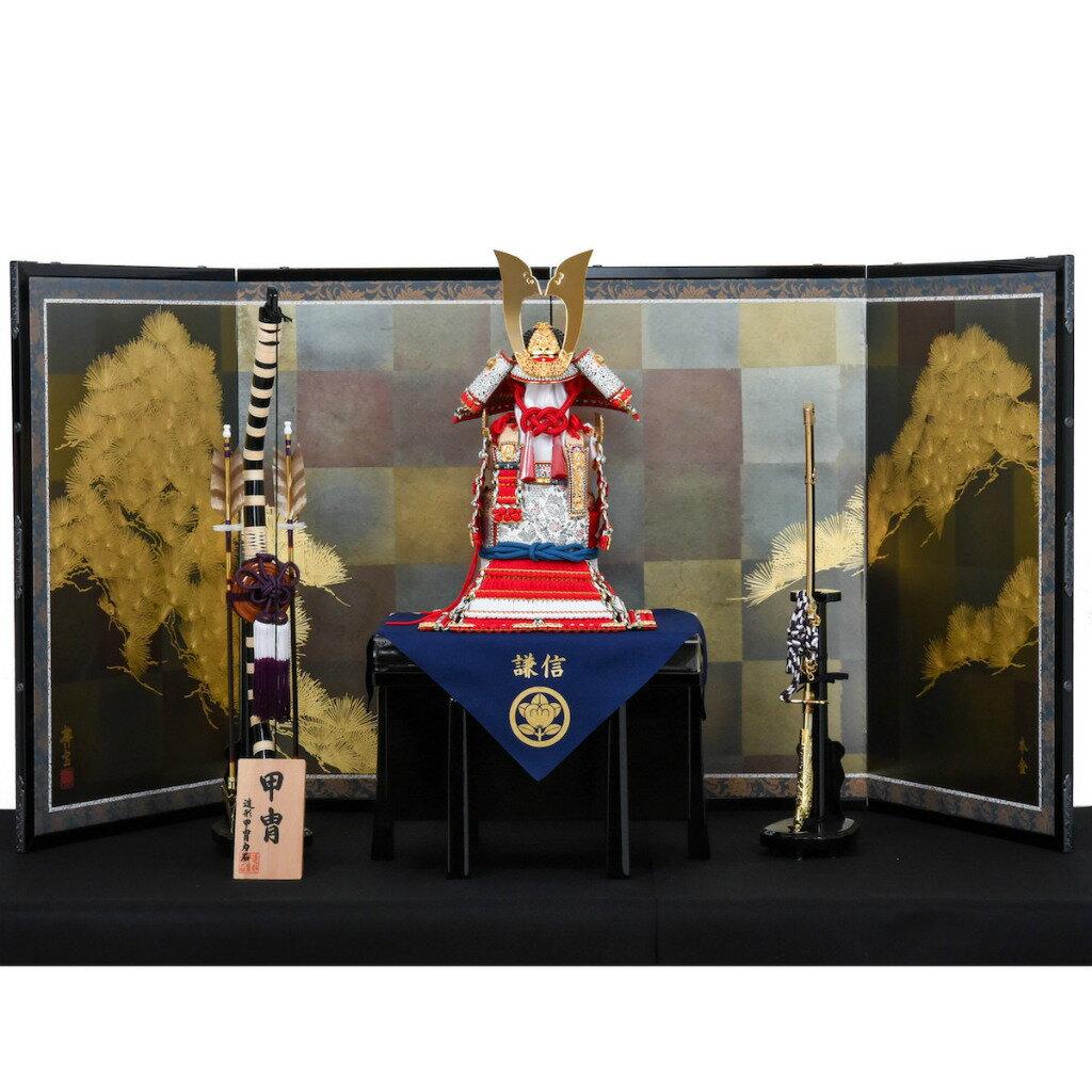 五月節句 男の子 鎧飾り 奉納飾 12号 赤糸威肩白大鎧 造形甲冑力石 送料無料
