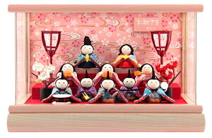 雛人形 コンパクト ひな人形 雛 ケース飾り 十人飾り 藤翁作 夢あそび 手作り縮緬細工 アクリルケース 【2021年度新作】 h033-fn-213-1002 こどもの日