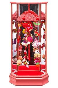 雛人形 コンパクト ひな人形 雛 ケース飾り つるし飾り つるし雛 藤翁作 大 桃A 縮緬細工 六角アクリルケース 【2021年度新作】 h033-fn-213-604 こどもの日