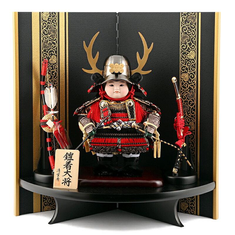 五月人形 子供大将飾り 武者人形 平飾り 清雲斉作 h245-fz-62-341-v 端午の節句 【2019年度新作子供大将】