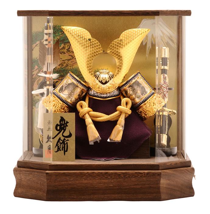 久月 五月人形 兜ケース飾り 六角ケース オルゴール付 h265-k-k112-2 端午の節句 【2019年度新作】 【あす楽対応】