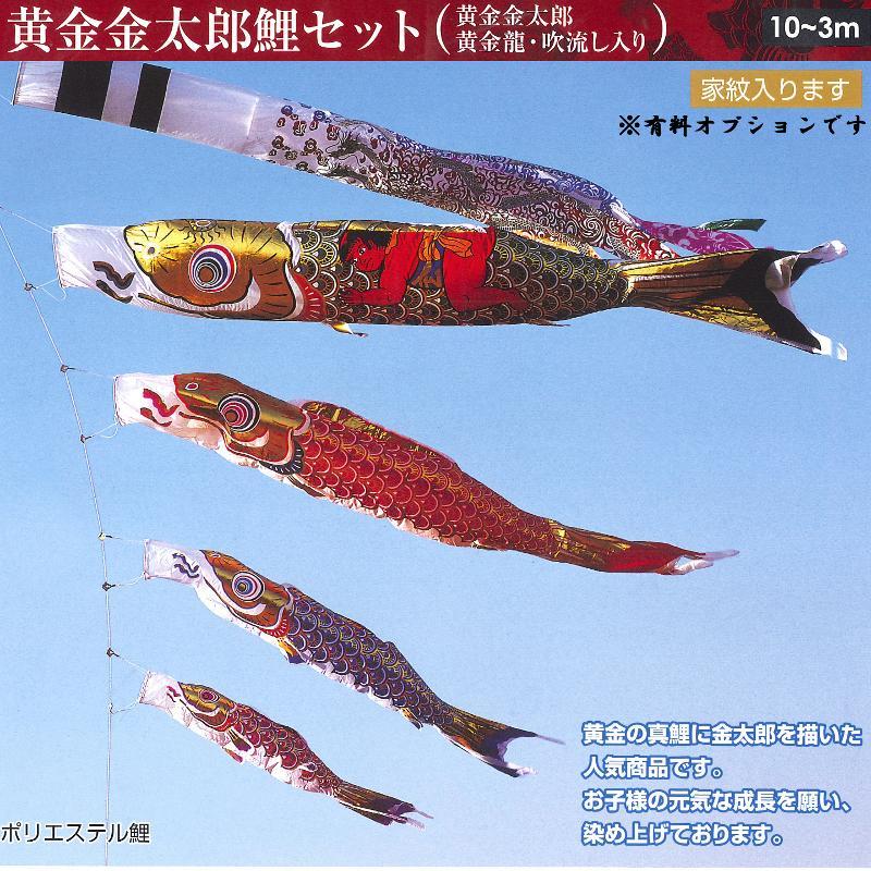 こいのぼり 黄金金太郎鯉 6m7点(鯉4色)セット フジサン鯉