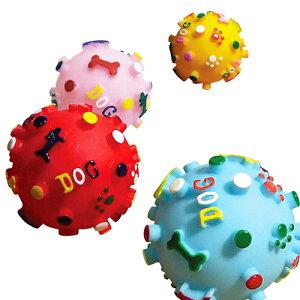 《あす楽》プープードッグボール Mサイズ 赤 水色 黄色 ピンク (犬 おもちゃ ボール 笛入り)