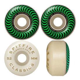スピットファイヤー スケートボード ウィール フォーミュラフォー SPITFIRE Wheels FORMULA FOUR F4 52mmx32mm 101A CLASSICS WHITE/GREEN SWIRL ホワイト 4個セット