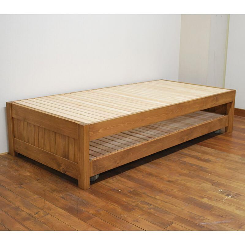 [サイズ変更可能]国産ひのきベッド下にベッド収納の親子ベッド トランドルベッド【ミディアムブラウン仕上げ】