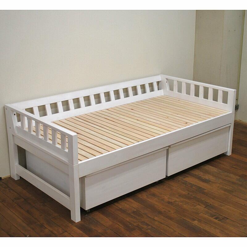 [サイズ変更可能]国産無垢ひのきミドルベッドシングルベッド寝台高さ50cm下収納ボックス付き 白塗装仕上げ
