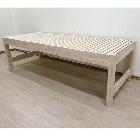 【サイズ変更可能】細いベッド国産無垢ひのきロフトベッドミドルベッド幅82cmセミシングル高さ60cm無塗装仕上げ