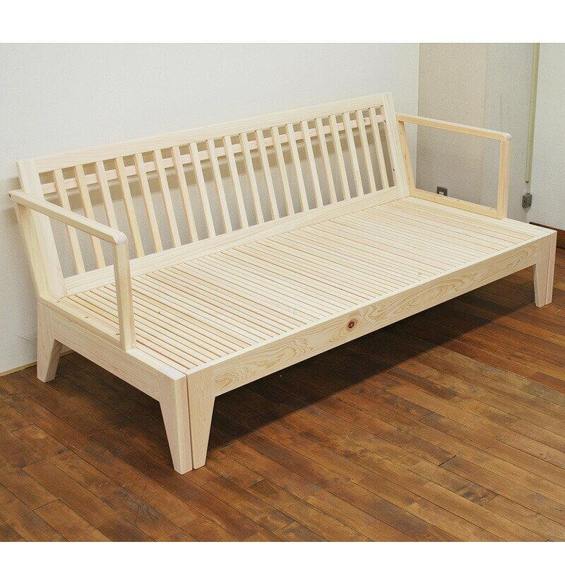伸縮ベッドシリーズ座面伸縮でベンチになったりベッドになったりする無垢国産ひのきソファーベッド背もたれ付きNO1602016【無塗装仕上げ】シングルからセミダブルサイズに