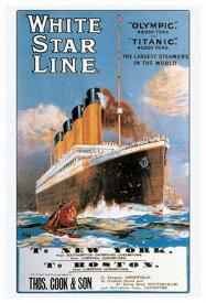 タイタニック号 ヴィンテージポスター/Titanic White Star Line フレーム付